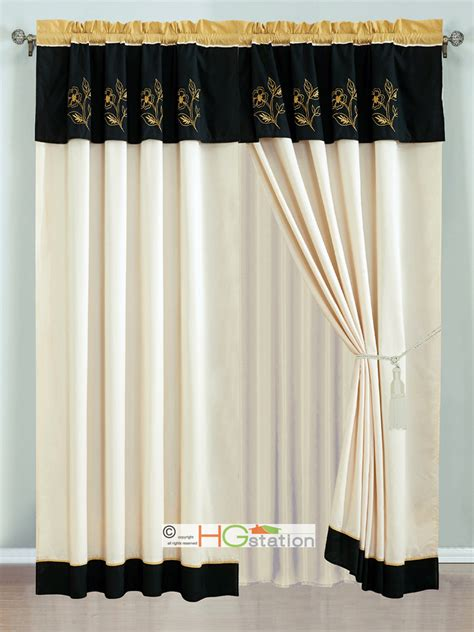 black and ivory curtains 4 pc allura floral embroidery striped curtain set gold