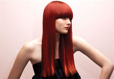 hairstyles for long straight red hair very long modern woman hairstyle with long bang straight