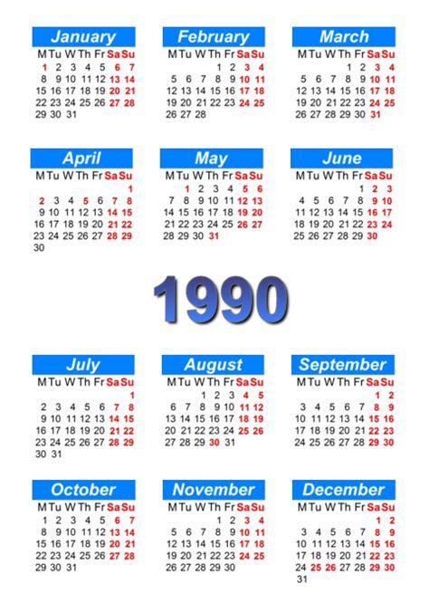 Calendario De 1990 Calendar 1990 To Print And In Pdf Abc Calendar