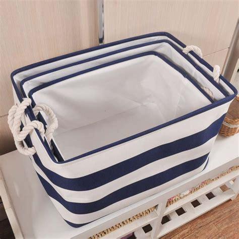 Zakka Style Navy Stripe Washing Clothes Laundry Canvas Fabric Laundry