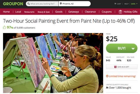 groupon paint nite paint out gift idea