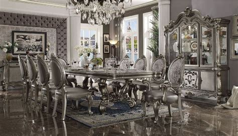 acme versailles antique platinum dining room set includes