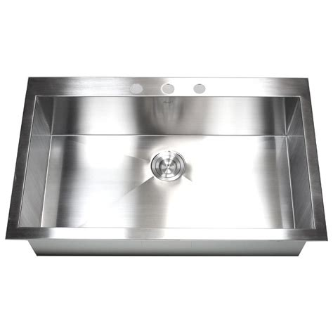 36 inch top mount drop in stainless steel single