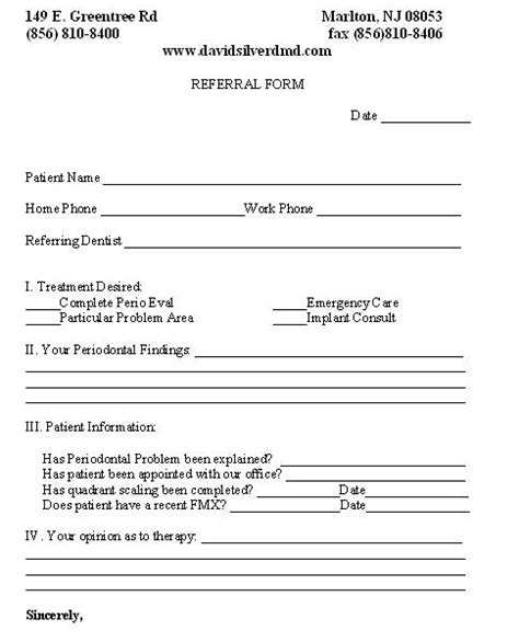 Referral Document Template by Referral Form Marlton Nj Referring Doctors