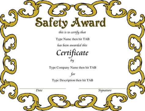 safety award certificate template award certificate templates