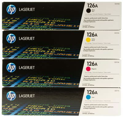 Toner Hp 126a Yellow hp ce31 a cyan magenta yellow black toner cartridge