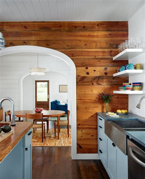 Curtains Kitchen Window Ideas by Shiplap Poplar Accent Wall Kitchen Contemporary With White