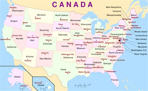 map of canada and usa with cities map of canada with cities and states all world maps