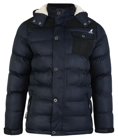 Oblong Wrangler Fruit Of The Loom Original kangol s padded puffer outdoor winter jacket warm fleece hooded coat ebay