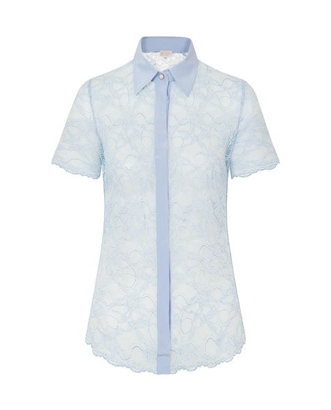 Blue Lace Edges S M L Blouse 45003 lace shirt sky blue cameron davies