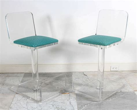 turquoise bar stool covers lucite bar stool with turquoise seat and back decofurnish