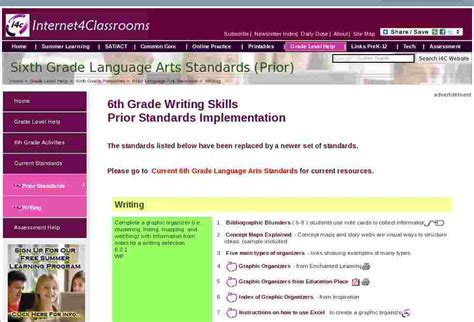 Language Arts Standards 6th Grade Writing Standards