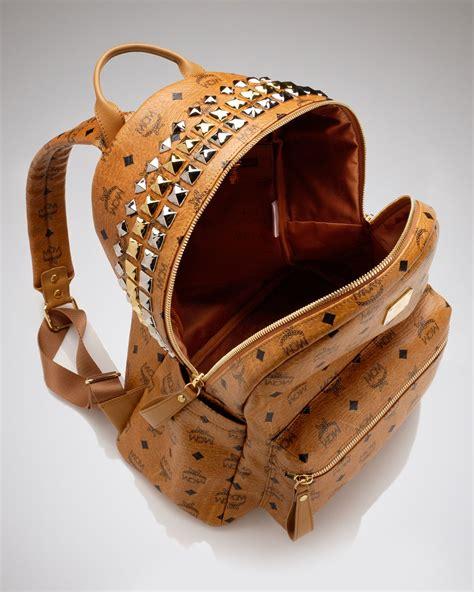 Backpack Stud Crown mcm backpack stark large crown stud in brown lyst