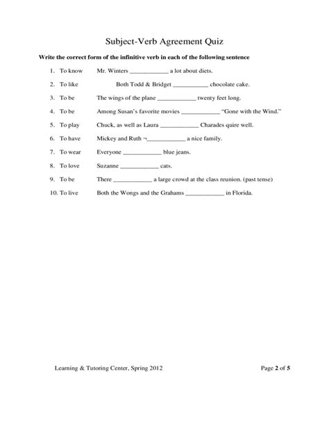 template of quiz subject verb agreement quiz template free