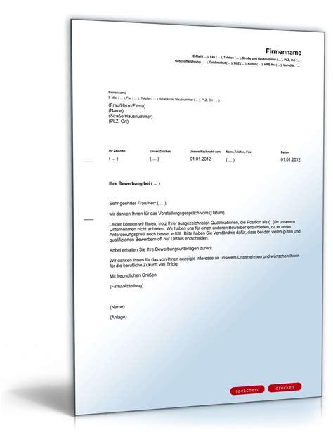 Brief Absagen Bewerbung absage bewerber nach jobinterview vorlage zum
