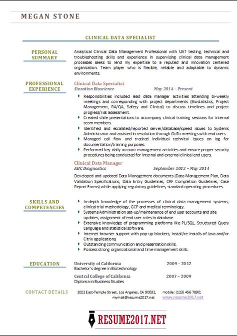 Data Management Specialist Sle Resume by Data Management Specialist Resume Resume Ideas