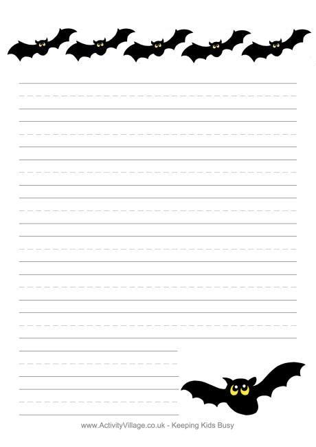 printable bat stationary halloween writing paper bats