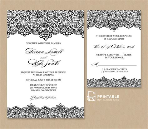 Free Pdf Wedding Invitation Template Black Lace Vintage Wedding Invitation And Rsvp Template Free Pdf Wedding Invitation Templates