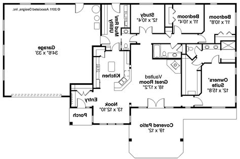Floor Plans For Ranch Homes Ranch House Plans Elk Lake 30 849 Associated Designs