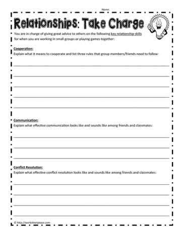 Relationship Skills Worksheets by Relationship Skills Worksheet Worksheets