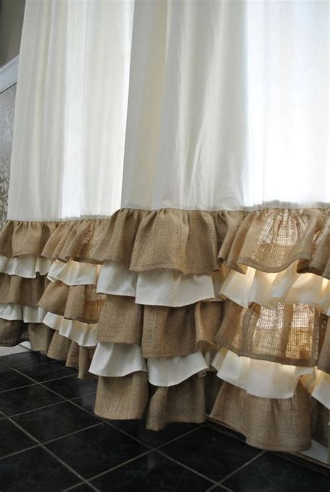burlap ruffled curtains ruffled bottom burlap curtain drapes ruffles round