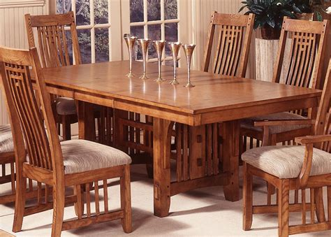 Mission Style Dining Room Chairs | santa rosa trestle dining table set mission style dining