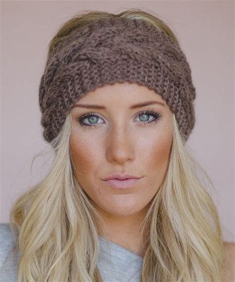 knitted head bangs styles mocha cable knit headband women my style pinterest