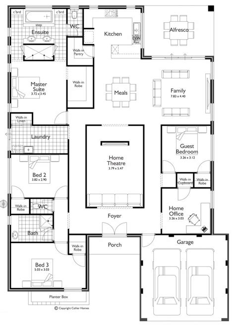 4 Bedroom Home Office Home Theater I Would Take Floor Plans For Home Theater
