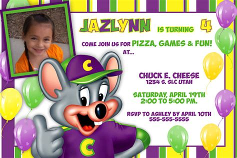 printable birthday invitations chuck e cheese personalized chuck e cheese printable birthday invitation