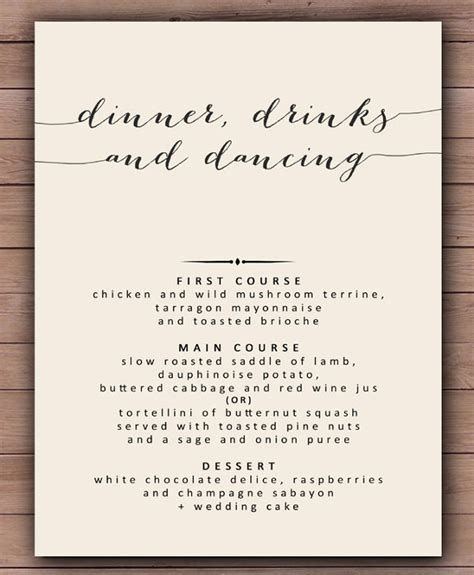 wedding dinner menu template wedding reception menu template free wedding invitation