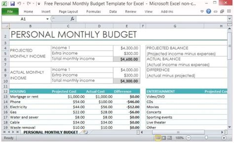 Free Personal Monthly Budget Template For Excel Excel Monthly Spending Template