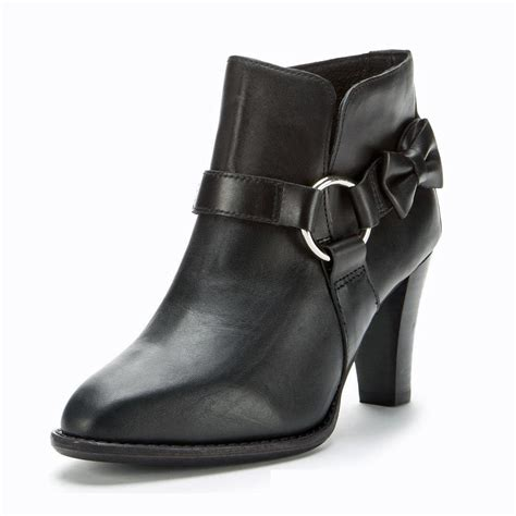 Donald 2 Straps Hush Puppies new f troupe black leather bow ring ankle