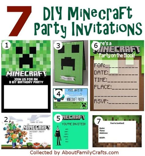 free printable minecraft invitation template 50 diy minecraft birthday party ideas about family
