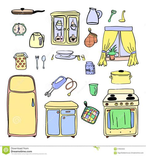 Kitchen Cabinet Plans Free by Kitchen Utensils And Cookware Hand Drawn Icons Set