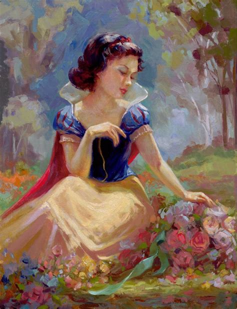 painting princess disney snow white gathering flowers complex