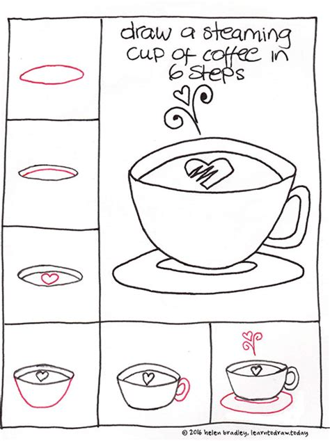 learn to draw a cup of coffee in 6 steps learn to draw
