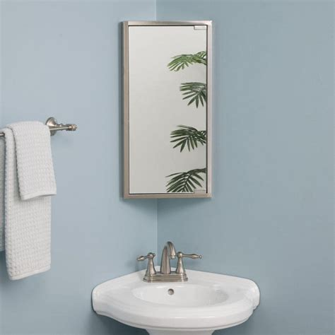 Corner Mirrors For Bathrooms | kugler stainless steel corner medicine cabinet medicine