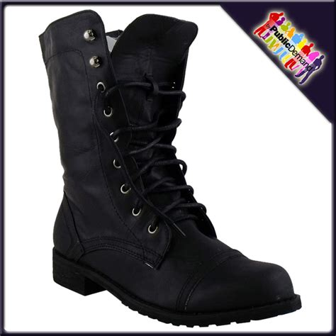 womens black flat lace up army boots size 3 8 ebay