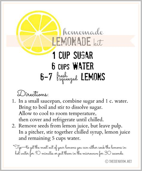 printable lemon recipes homemade lemonade gift kit and printables the idea room