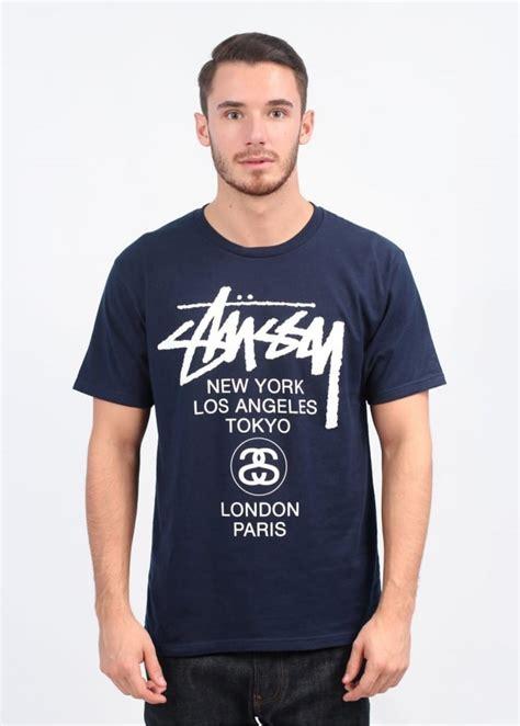 T Shirt Stussy Worldwide Inc stussy world tour t shirt navy