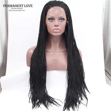 african box braided front lace wigs heat synthetic hair braided lace front wigs long black