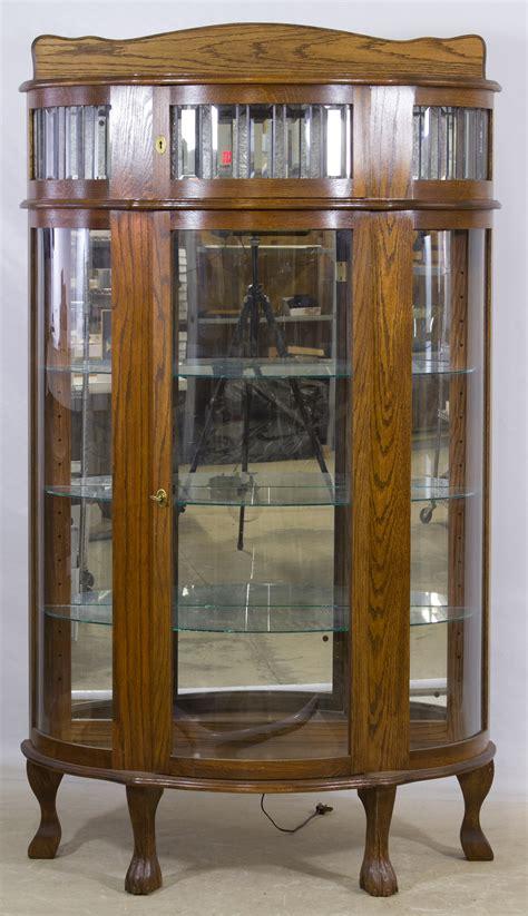 oak curved glass china cabinet leonard auction