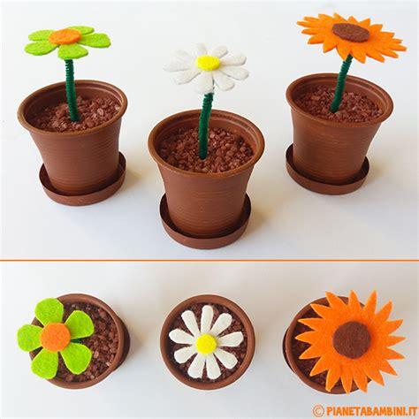fiore di plastica lavoretto fiori di feltro in vasetti di plastica