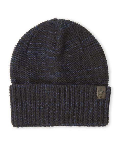 black knit hat original penguin marled knit hat in black for lyst