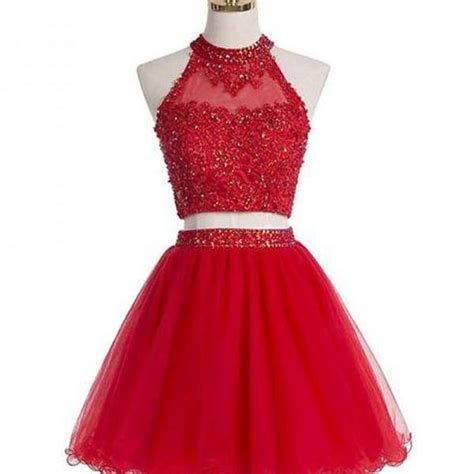 45624 Dress Square Murah beaded two homecoming dresses halter organza prom dresses on luulla