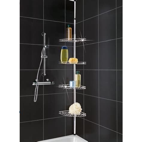 Corner Shelf Bathroom Storage Metal Corner Shower Bathroom Basket Caddy Shelf Telescopic Storage Shelves Tier Ebay