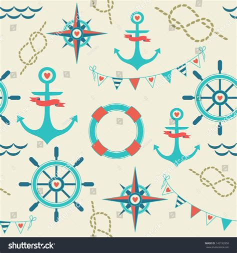 rope wrapping boat steering wheel seamless pattern marine symbols anchor rope stock vector