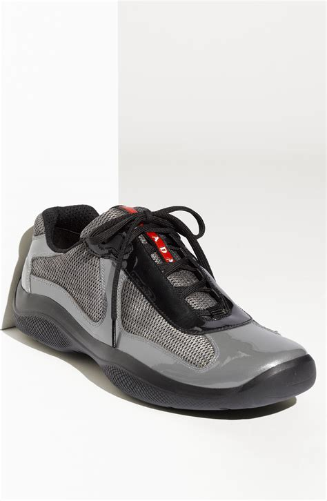 pradas shoes for prada americas cup mesh patent sneaker in gray for