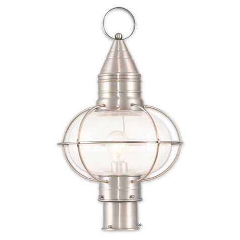 Brushed Nickel Outdoor Light Livex Lighting Newburyport 1 Light Outdoor Brushed Nickel Post Light 26905 91 The Home Depot