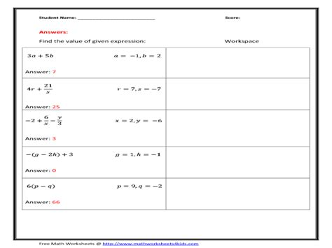 Algebraic Expression Worksheet by Evaluating Variable Expressions Worksheets Abitlikethis